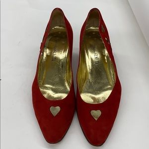 Women red suede Bottega Veneta Pumps sz 9A